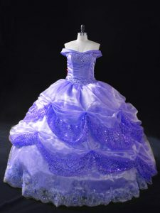 Low Price Lavender Organza Lace Up Quinceanera Gown Sleeveless Floor Length Beading and Pick Ups