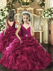 V-neck Sleeveless Organza Little Girls Pageant Dress Beading and Ruffles and Pick Ups Backless