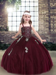 Sweet Burgundy Lace Up Kids Pageant Dress Beading and Appliques Sleeveless Floor Length