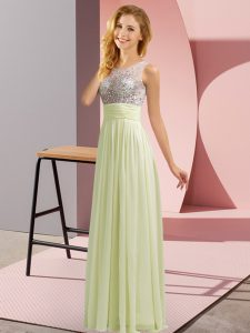 Free and Easy Empire Dama Dress for Quinceanera Light Yellow Scoop Chiffon Sleeveless Floor Length Side Zipper