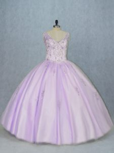 Fantastic Lavender Sleeveless Tulle Lace Up Quinceanera Gown for Sweet 16 and Quinceanera