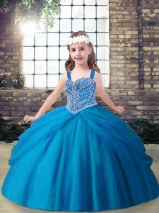 Flirting Blue Straps Neckline Beading Kids Pageant Dress Sleeveless Lace Up