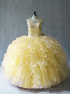 Sophisticated Yellow Ball Gowns Organza Scoop Sleeveless Beading and Ruffles Floor Length Lace Up Quinceanera Dress