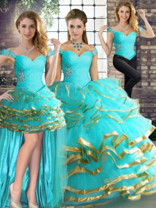 Enchanting Aqua Blue Off The Shoulder Lace Up Beading and Ruffled Layers Vestidos de Quinceanera Sleeveless