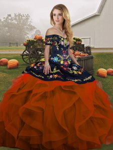 Rust Red Off The Shoulder Lace Up Embroidery and Ruffles Ball Gown Prom Dress Sleeveless