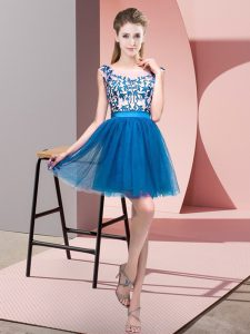 Blue Zipper Bateau Lace Damas Dress Tulle Sleeveless