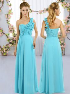 Aqua Blue Empire One Shoulder Sleeveless Chiffon Floor Length Lace Up Hand Made Flower Court Dresses for Sweet 16