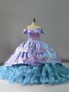 Most Popular Ruffles Vestidos de Quinceanera Blue Lace Up Sleeveless Chapel Train
