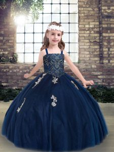 Fancy Sleeveless Tulle Floor Length Lace Up Pageant Dress for Girls in Navy Blue with Appliques