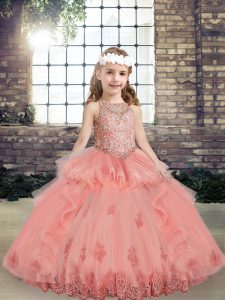 Eye-catching Scoop Sleeveless Tulle Kids Formal Wear Beading and Appliques Lace Up