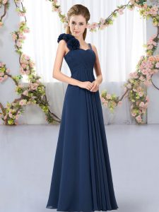 Navy Blue Lace Up Dama Dress for Quinceanera Hand Made Flower Sleeveless Floor Length