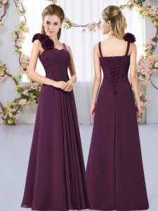 Dark Purple Damas Dress Wedding Party with Hand Made Flower Straps Sleeveless Lace Up