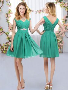 V-neck Sleeveless Chiffon Dama Dress Belt Zipper