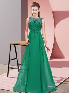 Sleeveless Floor Length Beading and Appliques Zipper Vestidos de Damas with Dark Green