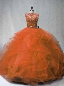 Cute Rust Red Neckline Beading and Ruffles 15th Birthday Dress Sleeveless Lace Up
