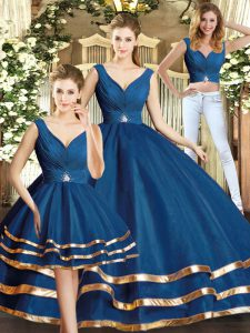 New Style Three Pieces Quinceanera Dresses Navy Blue V-neck Tulle Sleeveless Floor Length Backless