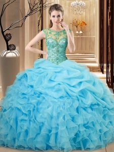 Traditional Organza Scoop Sleeveless Lace Up Beading and Ruffles Quinceanera Gowns in Baby Blue