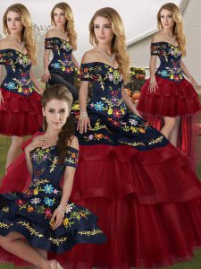 Off The Shoulder Sleeveless 15th Birthday Dress Brush Train Embroidery and Ruffled Layers Wine Red Tulle
