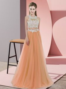 Orange Dama Dress for Quinceanera Wedding Party with Lace Halter Top Sleeveless Zipper