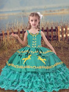 Beading and Embroidery and Ruffled Layers High School Pageant Dress Teal Lace Up Sleeveless Floor Length