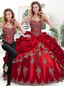 Spectacular Sweetheart Sleeveless Lace Up Quinceanera Dress Wine Red Organza