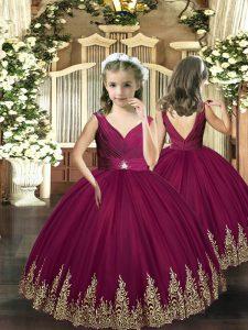 Floor Length Burgundy Little Girls Pageant Dress Sleeveless Backless