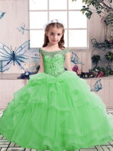 Ball Gowns Beading Girls Pageant Dresses Lace Up Tulle Sleeveless Floor Length