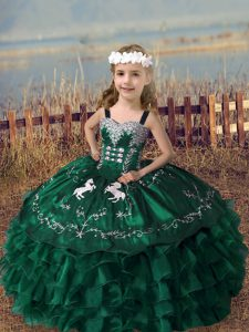 Fashionable Dark Green Sleeveless Embroidery and Ruffled Layers Floor Length Kids Formal Wear