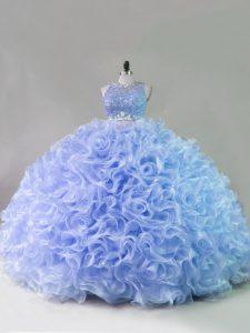 Sleeveless Beading and Ruffles Zipper 15th Birthday Dress
