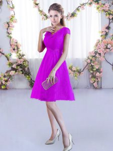 New Style A-line Quinceanera Court Dresses Fuchsia V-neck Lace Cap Sleeves Mini Length Lace Up