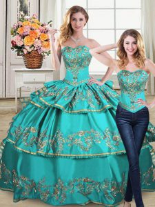 Lovely Sleeveless Embroidery and Ruffled Layers Lace Up Sweet 16 Quinceanera Dress