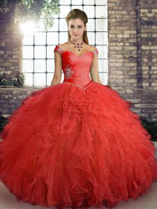 Orange Red Tulle Lace Up Off The Shoulder Sleeveless Floor Length Quinceanera Gown Beading and Ruffles
