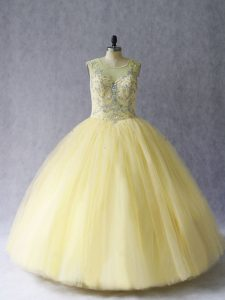 Cute Tulle Scoop Sleeveless Lace Up Beading Quinceanera Gown in Light Yellow