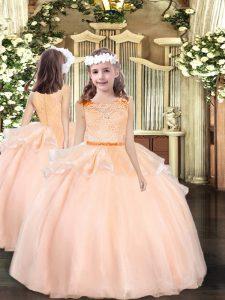 Peach Ball Gowns Organza Scoop Sleeveless Lace Floor Length Zipper Kids Formal Wear