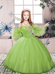 Floor Length Lace Up Little Girls Pageant Dress Wholesale Champagne for Party and Sweet 16 and Wedding Party with Beading