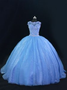 Blue Quinceanera Dress Tulle and Sequined Sleeveless Beading