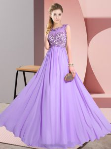 Lavender Backless Quinceanera Dama Dress Beading and Appliques Sleeveless Floor Length