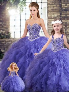 Extravagant Sleeveless Floor Length Beading and Ruffles Lace Up Quinceanera Dress with Lavender