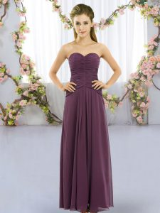 Dark Purple Sleeveless Chiffon Lace Up Quinceanera Court Dresses for Wedding Party