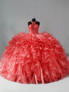 Luxury Coral Red Zipper Halter Top Beading and Ruffles Quince Ball Gowns Organza Sleeveless Brush Train