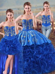 Royal Blue Sweetheart Neckline Embroidery and Ruffles Quinceanera Dresses Sleeveless Lace Up