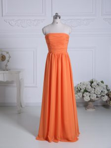 Exceptional Floor Length Empire Sleeveless Orange Dama Dress for Quinceanera Zipper
