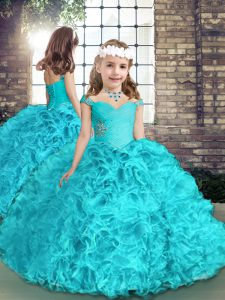 Aqua Blue Ball Gowns Straps Sleeveless Organza Floor Length Lace Up Beading Kids Formal Wear