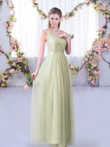 Artistic Yellow Green Empire V-neck Sleeveless Tulle Floor Length Side Zipper Lace and Belt Damas Dress