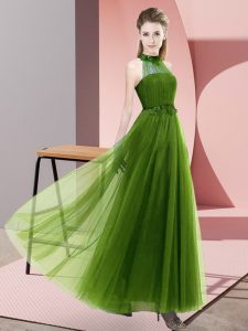 Floor Length Lace Up Dama Dress for Quinceanera Olive Green for Wedding Party with Beading and Appliques