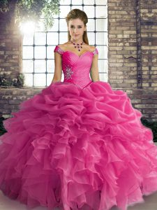 Hot Pink Sleeveless Organza Lace Up Ball Gown Prom Dress for Military Ball and Sweet 16 and Quinceanera