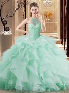 Apple Green Lace Up Halter Top Beading and Ruffles Vestidos de Quinceanera Organza Sleeveless Brush Train