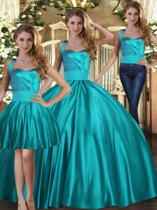 Teal Halter Top Lace Up Ruching 15 Quinceanera Dress Sleeveless