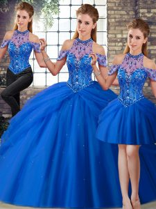 Fabulous Blue Halter Top Lace Up Beading and Pick Ups 15 Quinceanera Dress Brush Train Sleeveless