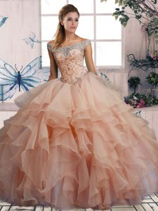 New Arrival Off The Shoulder Sleeveless Lace Up Sweet 16 Quinceanera Dress Pink Organza